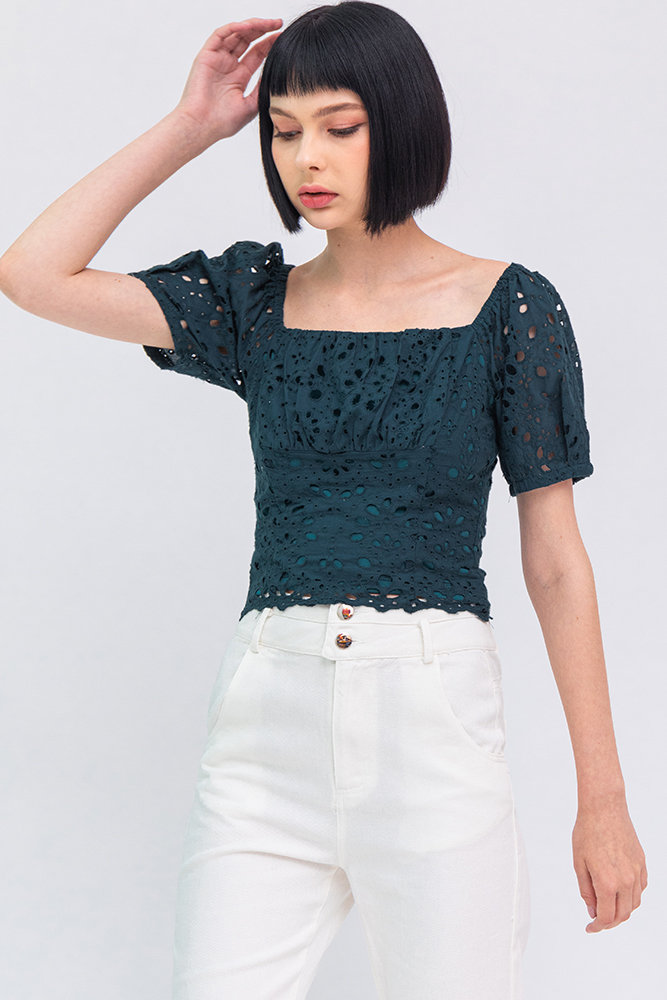 Ariel Eyelet Top (Forest Green)