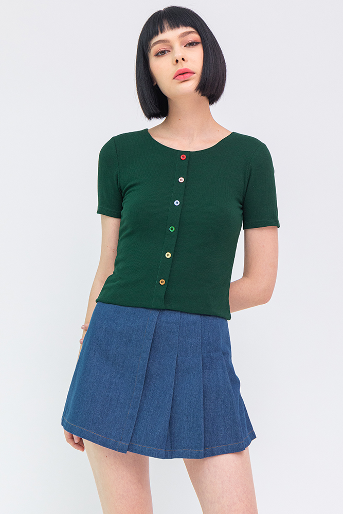Eleven Soft Ribbed Tee (Forest Green)