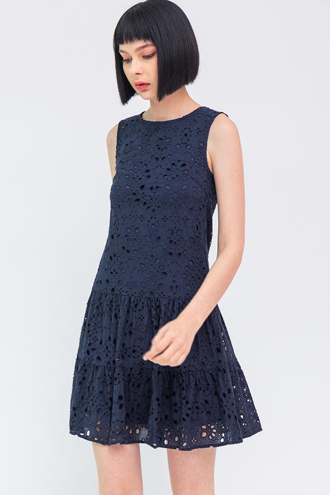 Maia Eyelet Tiered Dress (Navy)