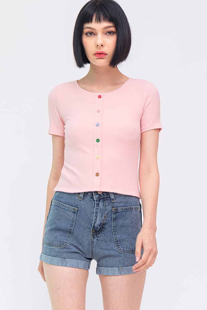 Eleven Soft Ribbed Tee (Pink)