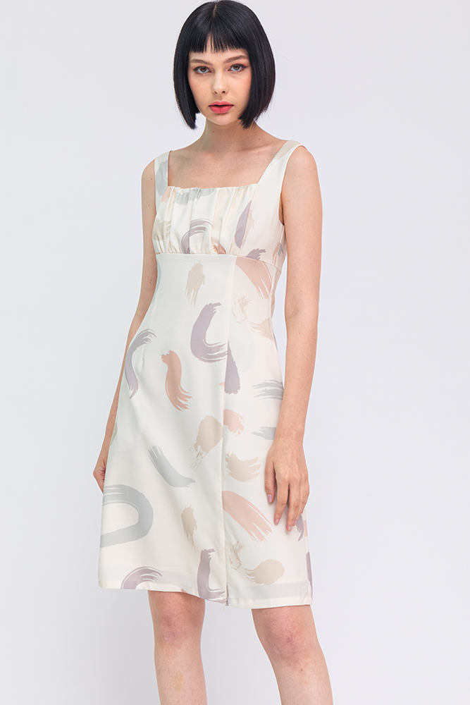 The Abstract Expressionist A-Line Dress (Ecru)
