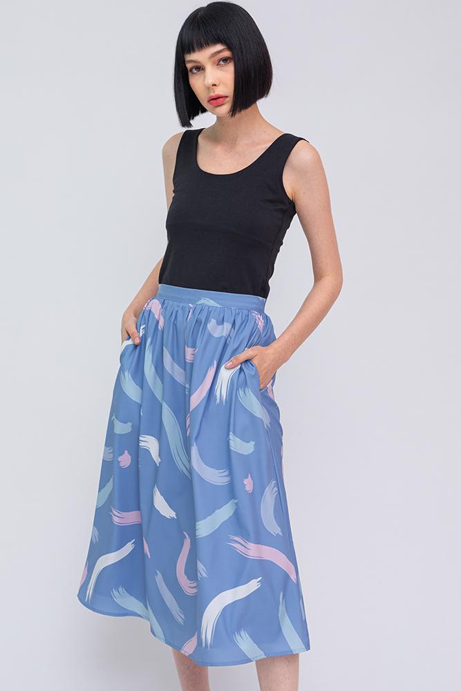The Artist's Palette Midi Skirt (Sky)