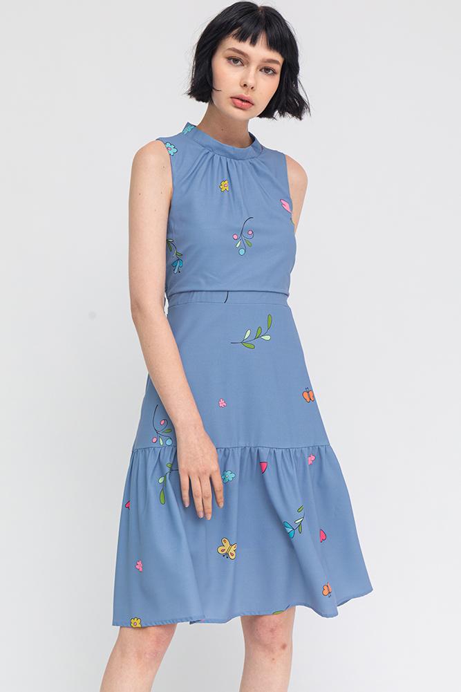 Butterfly Lyrics Ruched Collar Dress (Carolina Blue)