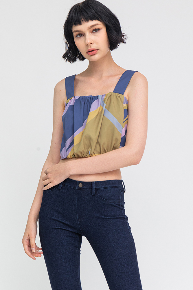 Whimsical Art Ruched Top (Sapphire Blue)