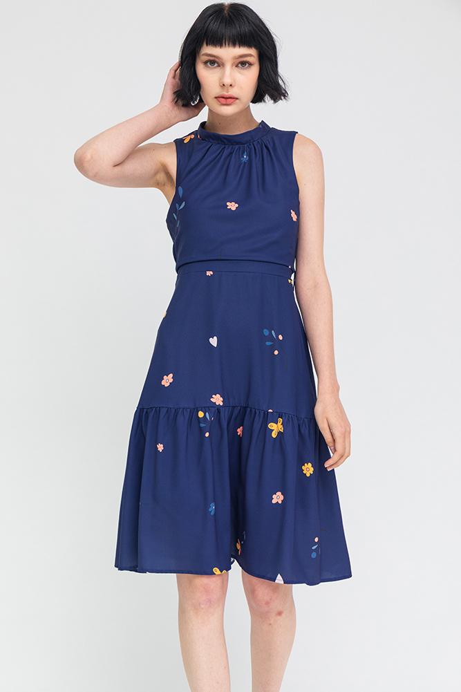 Butterfly Lyrics Ruched Collar Dress (Navy)