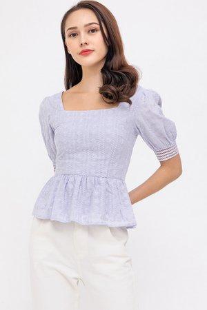 Tabrina Textured Peplum Top (Lilac Grey)
