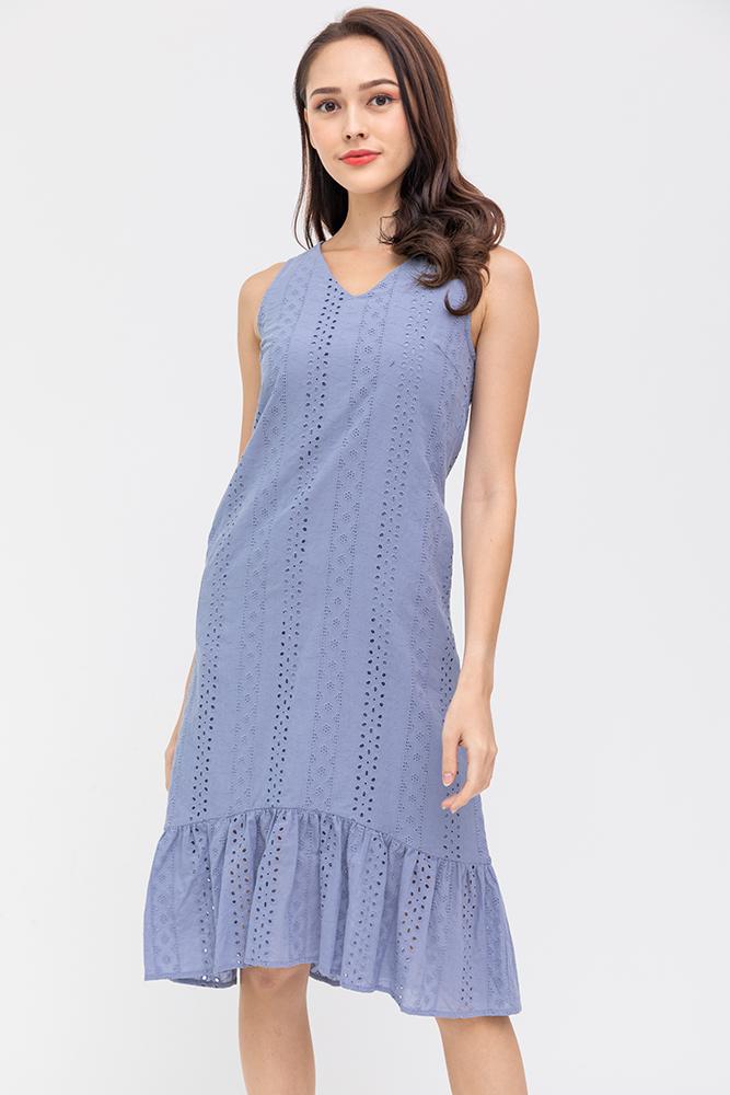 Sheridan Eyelet Mermaid Midi Dress (Periwinkle Blue)