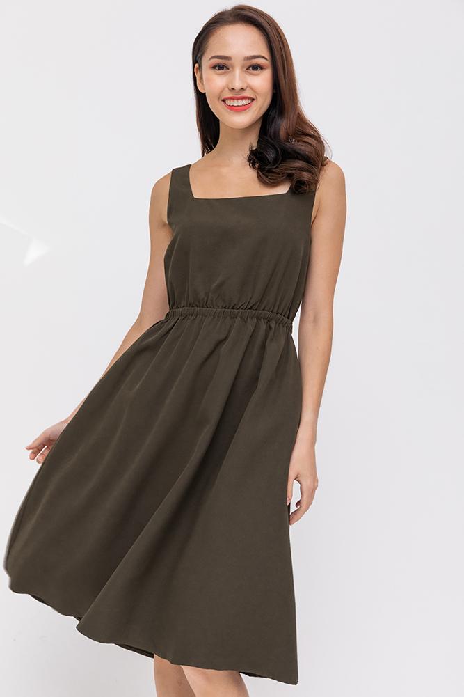 Juliette Holiday Dress (Dark Olive)