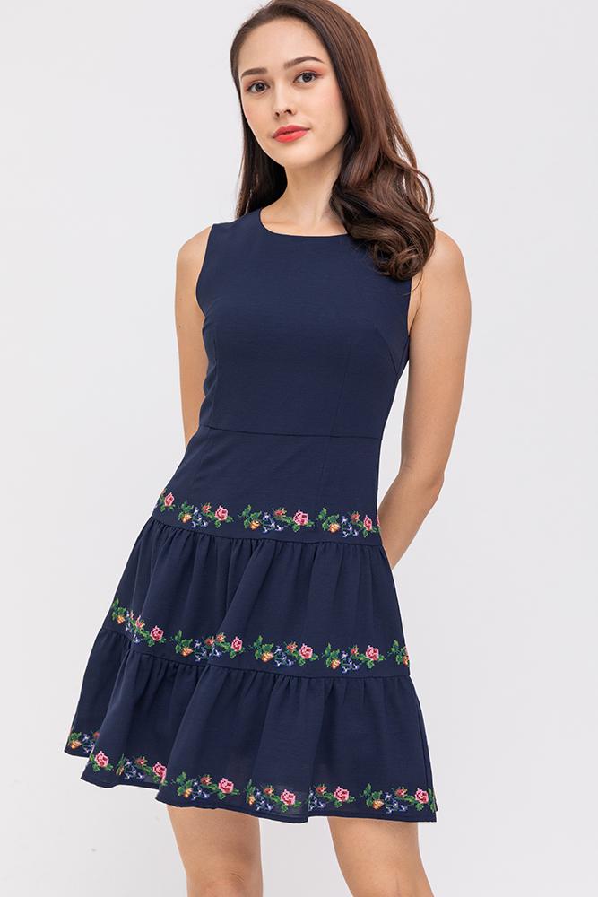 Fiorina Tiered Hem Dress (Navy)