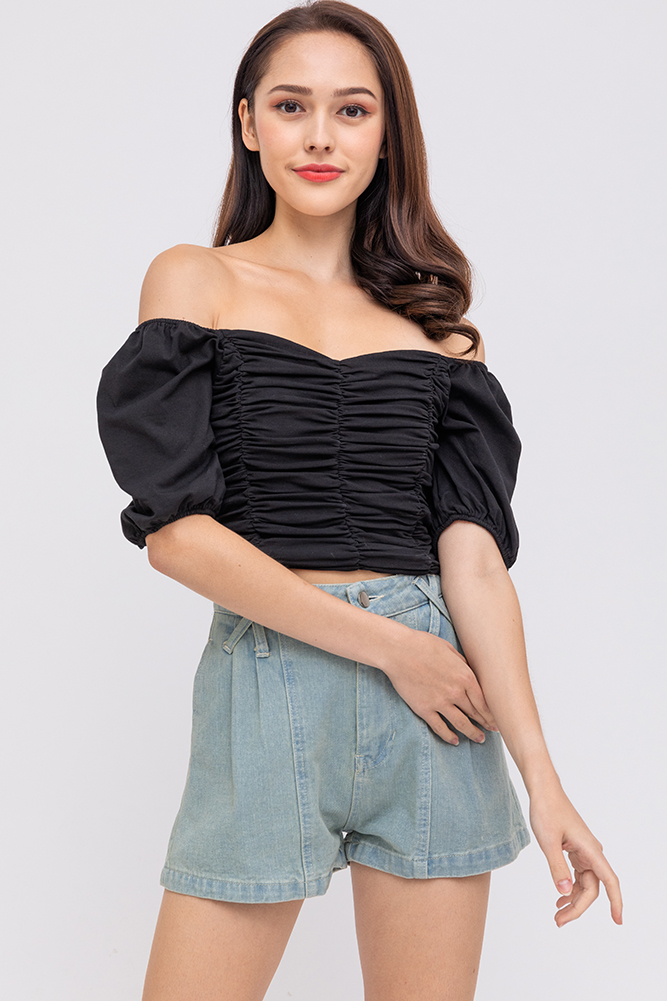 Chrissy 2-Way Ruched Top (Black)