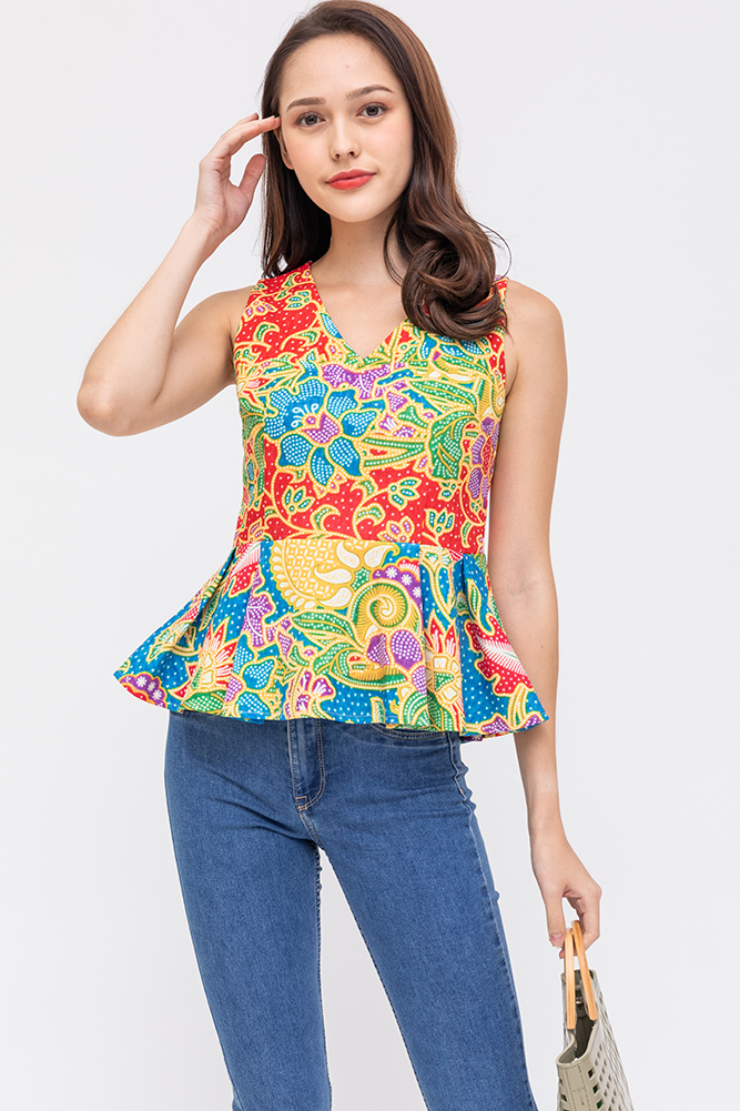 Flame Of The Forest Peplum Top (Crimson)