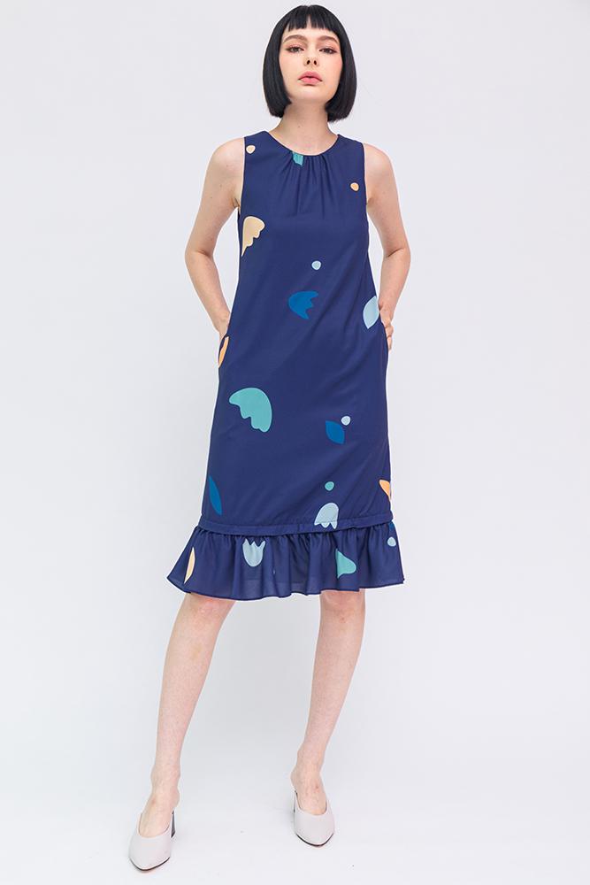 A Medley of Shapes Flounce Dress (Navy)
