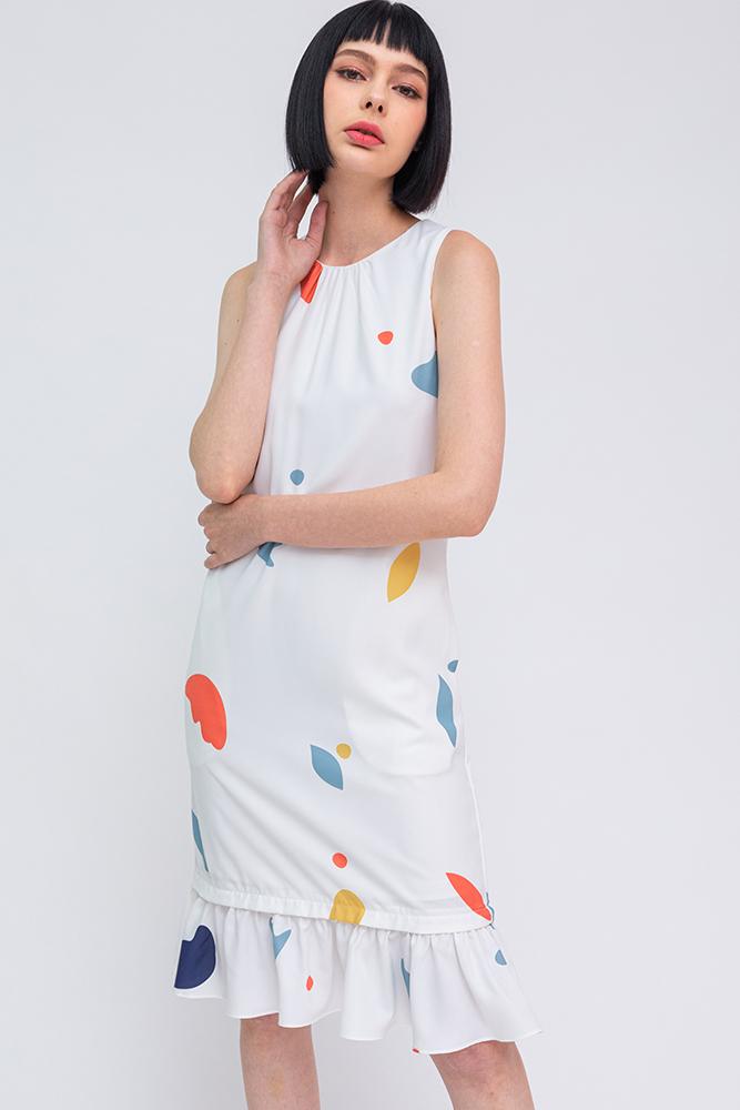 A Medley of Shapes Flounce Dress (White Bold Prints)