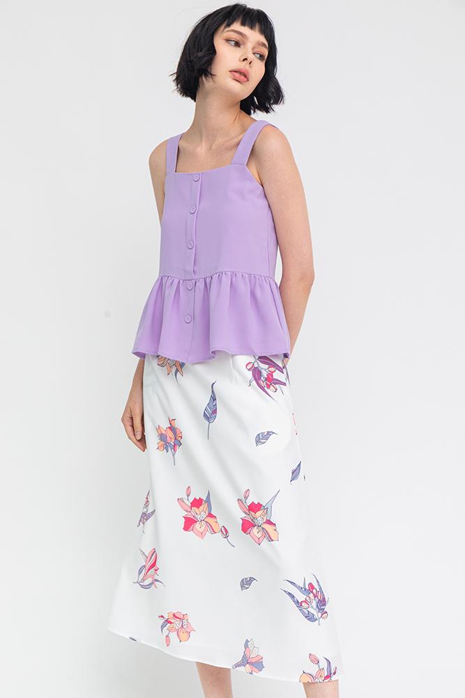 Dazzling Bloom Midi Skirt (White)