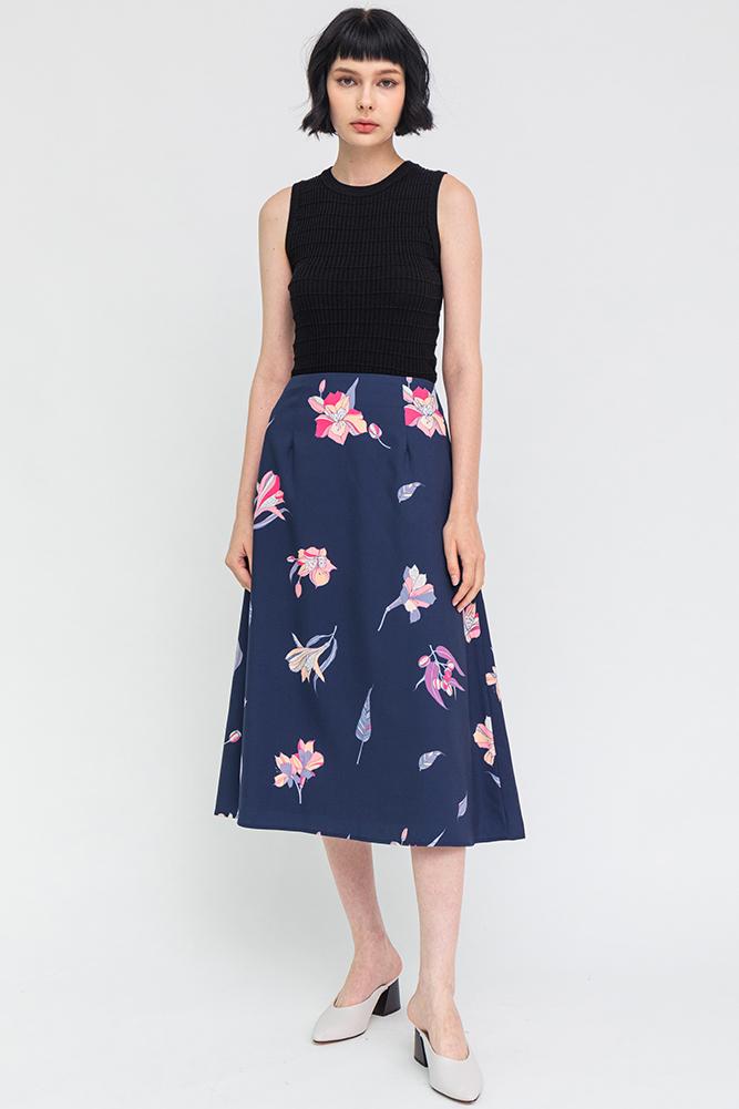 Dazzling Bloom Midi Skirt (Navy)