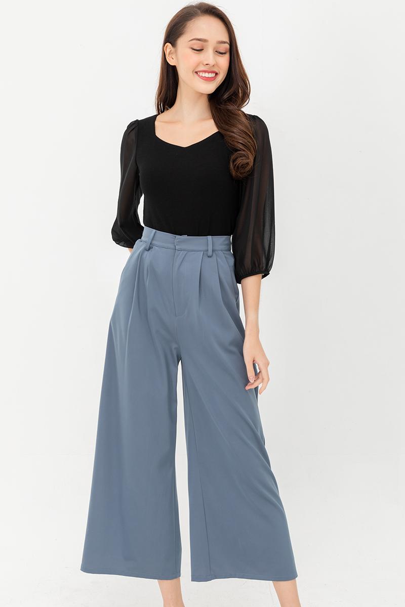 The Super Luxe Wide-Leg Satin Pants (Stone Blue)