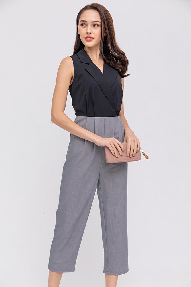The Girl Boss Lapel Collar Jumpsuit (Black)