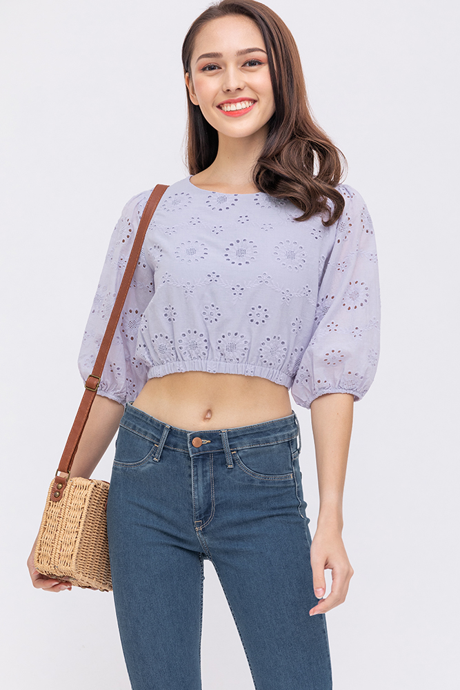 The Globetrotter Eyelet Top (Lilac Grey)