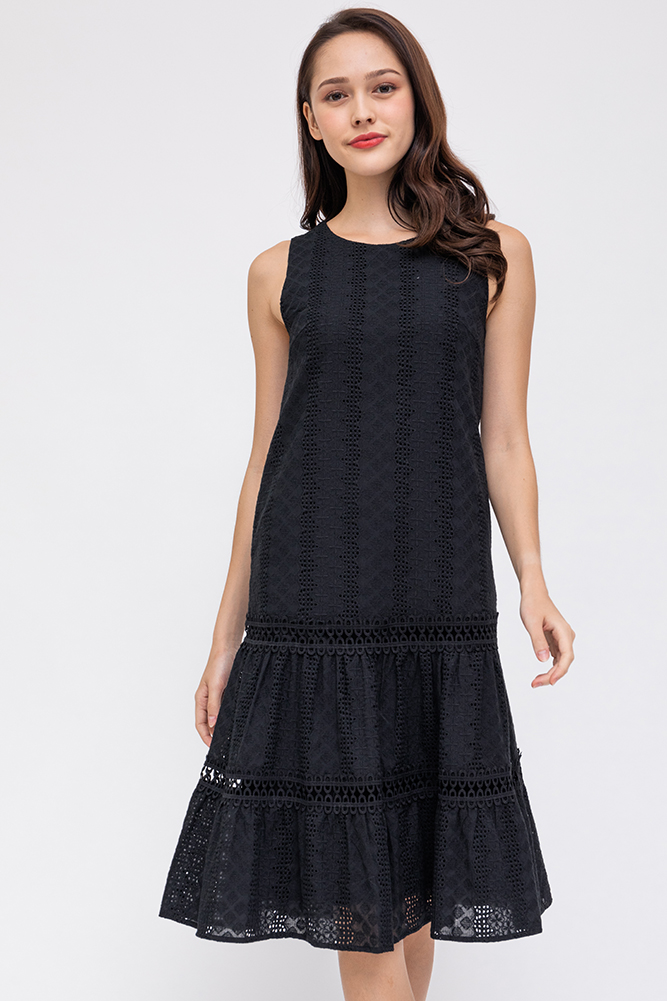 Happiness In Summer Tiered Midi Dress (Black)
