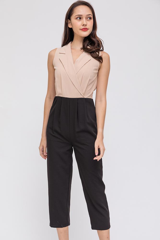 The Girl Boss Lapel Collar Jumpsuit (Ercu)
