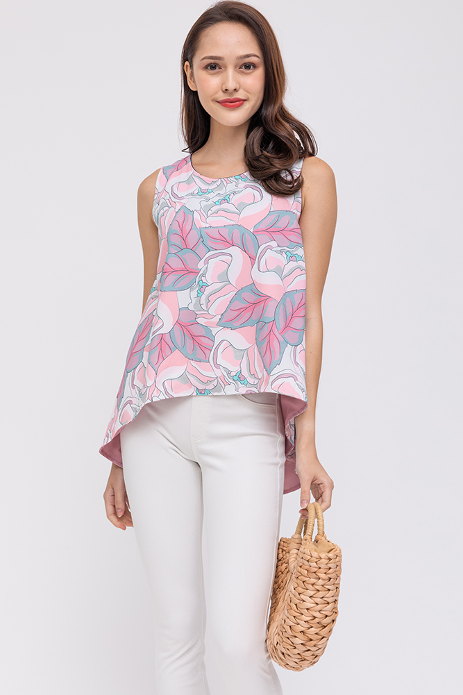 The Moonflower Reversible Top (Pink Ombre)