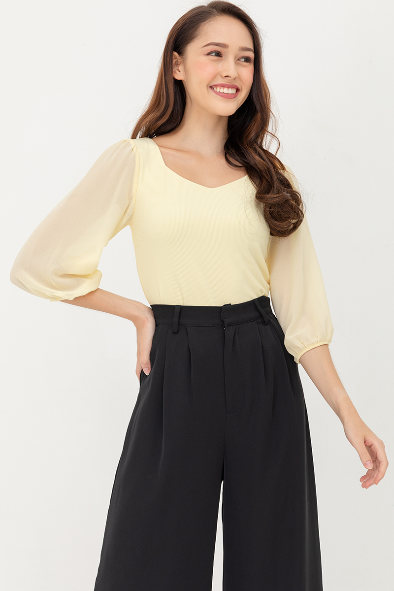 Isabella Top With Chiffon Sleeves (Butter Cream)
