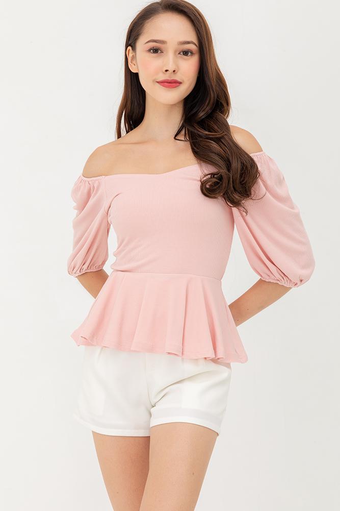 Romeo & Juliet Peplum Top (Pink)