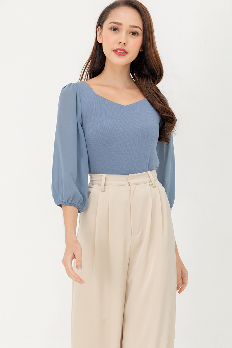 Isabella Top With Chiffon Sleeves (Sky)