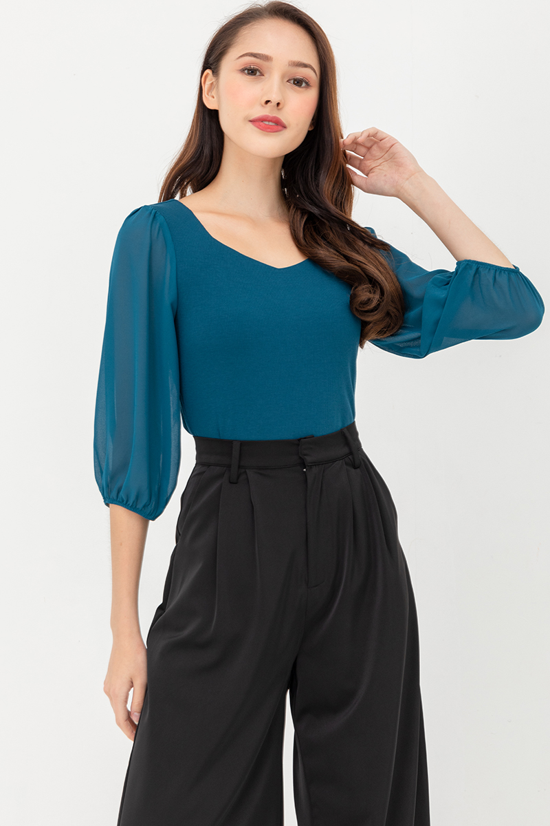 Isabella Top With Chiffon Sleeves (Teal)
