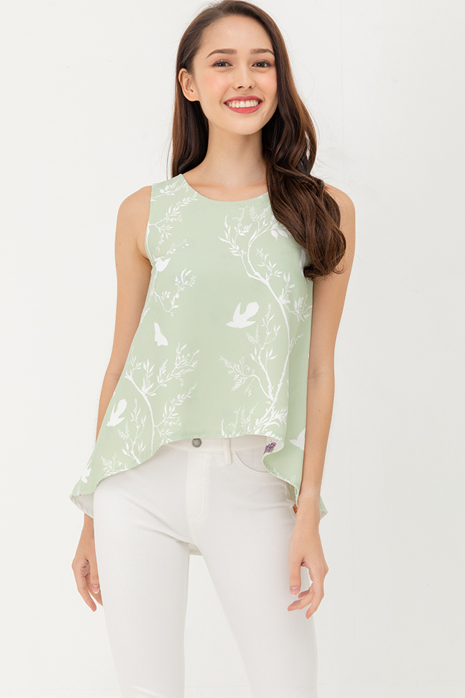 Wonders Of The Wood Reversible High Low Top (Sage White)