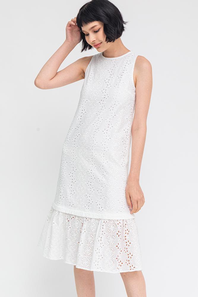 Abigail Convertible Eyelet Dress (White)