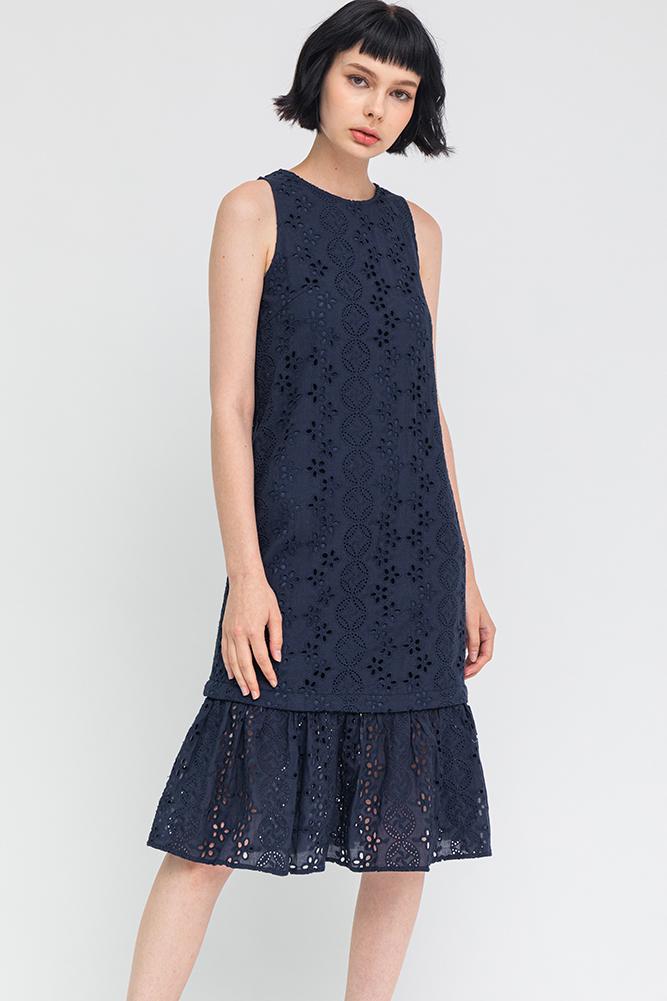 Abigail Convertible Eyelet Dress (Navy)