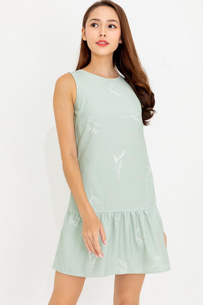 Summer Sparkle Reversible Flounce Dress (Sage)